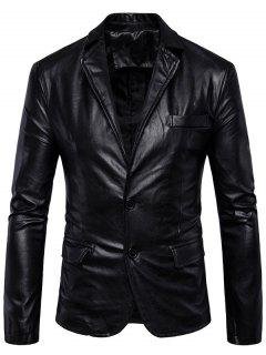 Single Breasted Lapel Faux Leather Blazer - Black Xl