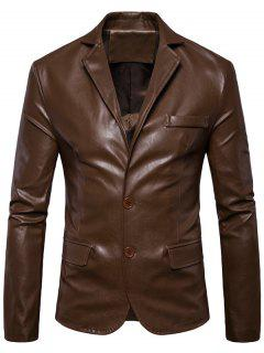 Single Breasted Lapel Faux Leather Blazer - Brown Xl