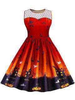 Halloween Lace Panel Plus Size Dress - Orange 2xl