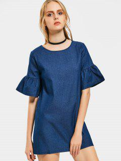 Flare Sleeve Shift Chambray Dress - Deep Blue M