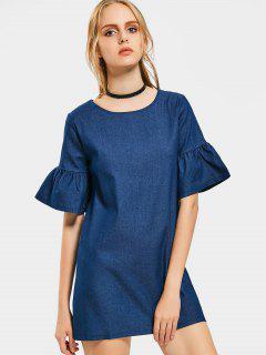 Flare Sleeve Shift Chambray Dress - Deep Blue M