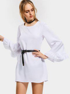 Flare Sleeve Belted Mini Dress - White S