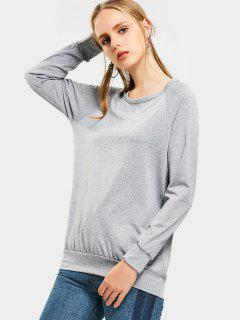Crew Neck Raglan Sleeve Sweatshirt - Gray Xl