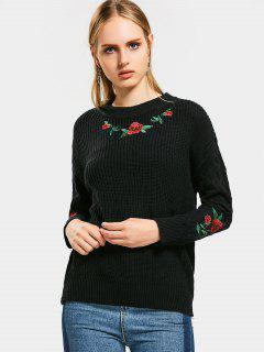 Floral Embroidery Chunky Sweater - Black