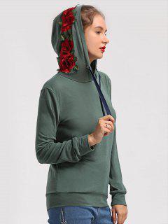 Floral Patchwork Drawstring Hoodie - Army Green L