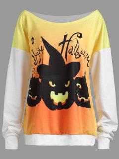 Plus Size Happy Halloween Pumpkin Drop Shoulder Sweatshirt - White 5xl