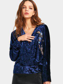 Blusa De Terciopelo Machacada Con Lentejuelas - Azul Purpúreo S