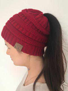 Mixcolor Open Top Knitted Hat - Red
