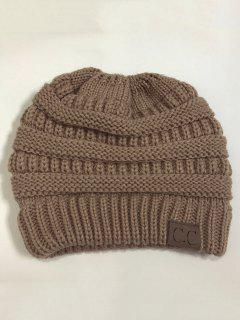 Mixcolor Open Top Knitted Hat - Khaki