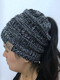 Mixcolor Open Top Knitted Hat - Black White