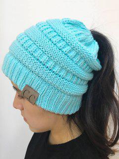 Chapeau En Tricot En Haut Ouvert Mixcolor - Bleu Clair