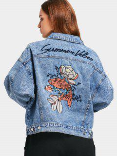 Button Up Fish Embroidered Denim Jacket - Denim Blue