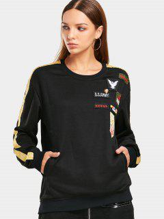Ribbons Trim Chevron Patched Sweatshirt - Black S