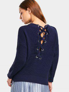 Drop Shoulder Lace Up Back Sweater - Purplish Blue