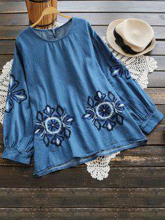 Blusa De Chambray Floral Con Cuello Redondo - Azul Profundo