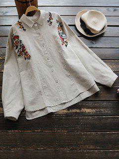 Chemise à Boutons Brodé Floral - Kaki Clair
