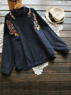 Floral Embroidered Button Up Shirt - Purplish Blue