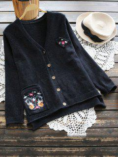 Floral Pocket Button Up Cardigan - Black