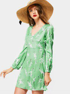 Plunging Neck Long Sleeve Printed Dress - Green L