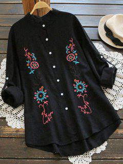 Floral Embroidery Button Up Blouse - Black