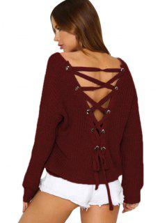 Back Lace Up V Neck Pullover Sweater - Wine Red