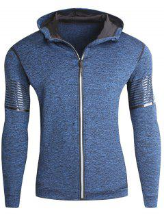 Stretch Zip Up Stripe Fleece Running Hoodie - Blue 2xl