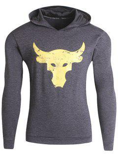 Bull Print Space Dye Pullover Sport Hoodie - Deep Gray M