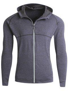 Stretch Zip Up Fleece Heathered Running Hoodie - Deep Gray M