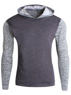 Color Block Fitness Pullover Sport Hoodie - Deep Gray M