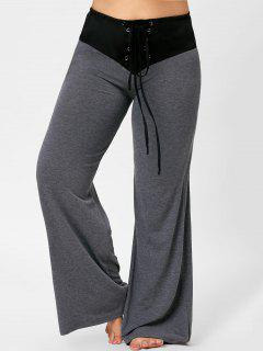 Two Tone Plus Size Lace-up Flare Pants - Gray 3xl