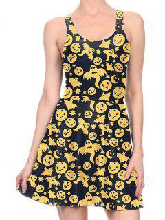 Halloween Pumpkin Flare Tank Dress - Yellow M