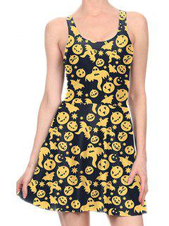 Halloween Pumpkin Flare Tank Dress - Yellow Xl