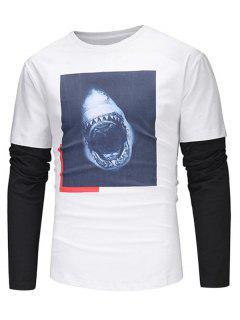 Crew Neck Faux Twinset 3D Fierce Shark Print T-shirt - White 3xl