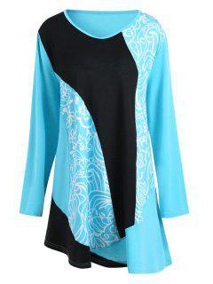 Plus Size Floral Printed Color Block Tee Dress - Blue 4xl