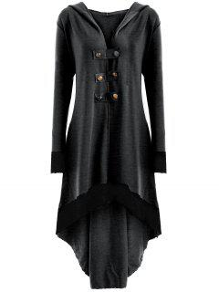 Lace-up Plus Size Hooded High Low Coat - Deep Gray Xl