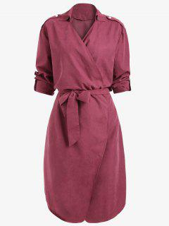 Drop Shoulder Belted Plain Coat - Wine Red L