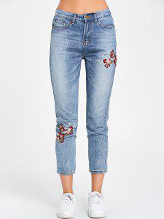 Floral Embroidered Nine Minutes Of Jeans - Blue L