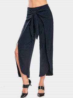 High Slit Bowknot Wide Leg Pants - Purplish Blue S
