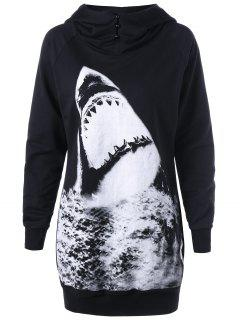 Raglan Sleeve Shark Print Longline Hoodie - Black 2xl