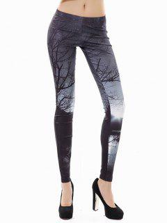 Halloween 3D Print Branches Leggings - Black Xl