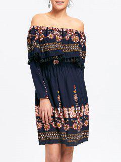 Floral Off The Shoulder Tassel Dress - Cerulean Xl
