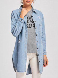 Ripped Mini Denim Shirt Dress - Denim Blue 2xl