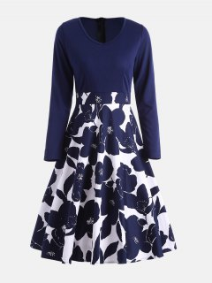 High Waisted Flower Print Long Sleeve Dress - Purplish Blue 2xl