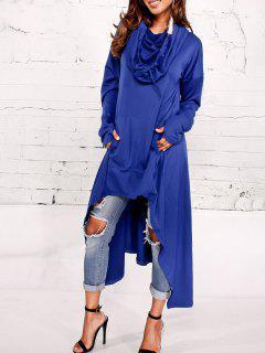 Kangaroo Pocket Asymmetric Maxi Hoodie - Blue Xl