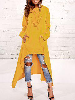 Kangaroo Pocket Asymmetric Maxi Hoodie - Yellow Xl