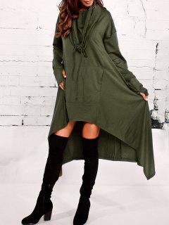 Kangaroo Pocket Asymmetric Maxi Hoodie - Army Green L
