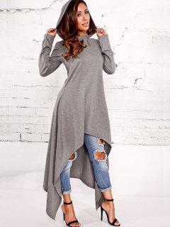 Asymmetrical Pullover Maxi Hoodie - Gray 2xl
