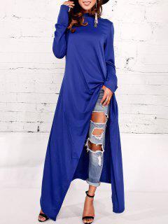 Asymmetrical Pullover Maxi Hoodie - Blue M
