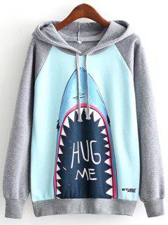 Hug Me Shark Print Raglan Sleeve Hoodie - Blue M