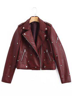 Rivet Embellished Faux Leather Jacket - Wine Red M